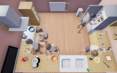 VRKitchen: An interactive virtual environment to train and test AI agents